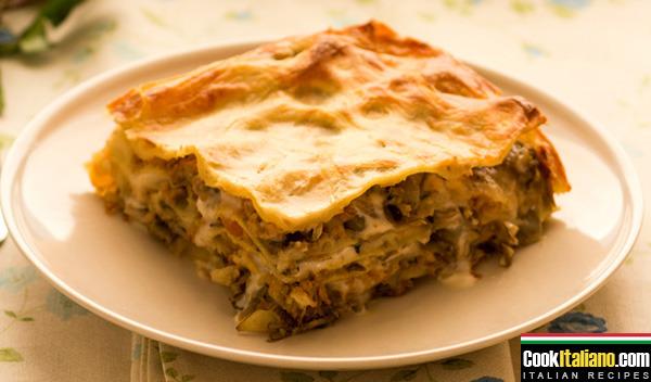 Lasagna with mushrooms and artichokes - Ricetta